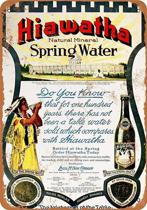 Hiawatha Natural Mineral Spring Water Retro Cartel de Chapa ...