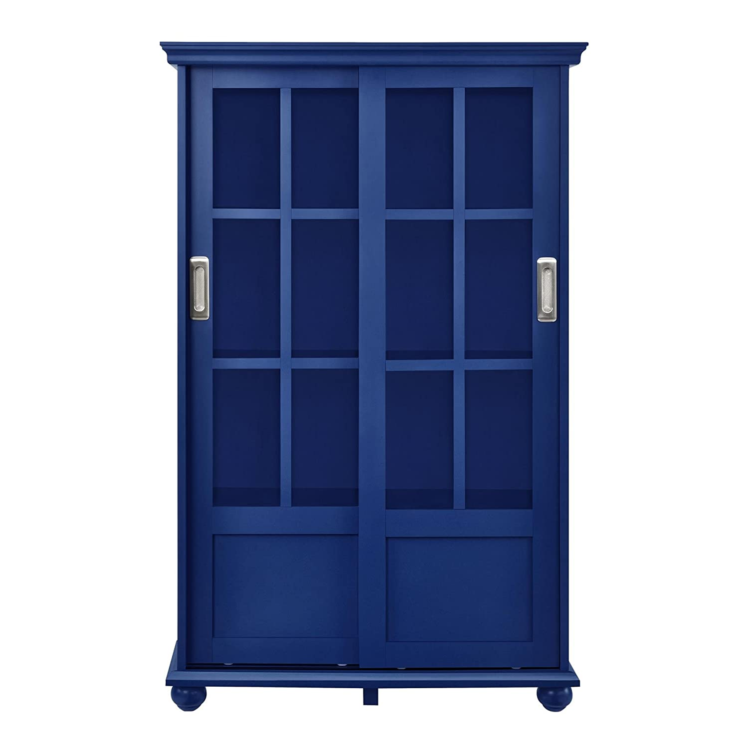 Amazon.com: Ameriwood Home Aaron Lane Bookcase with Sliding Glass Doors,  Blue: Kitchen & Dining