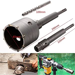 Hanperal 65mm SDS Plus Shank Hole Saw Cutter Concrete Cement Stone Wall Drill Bit