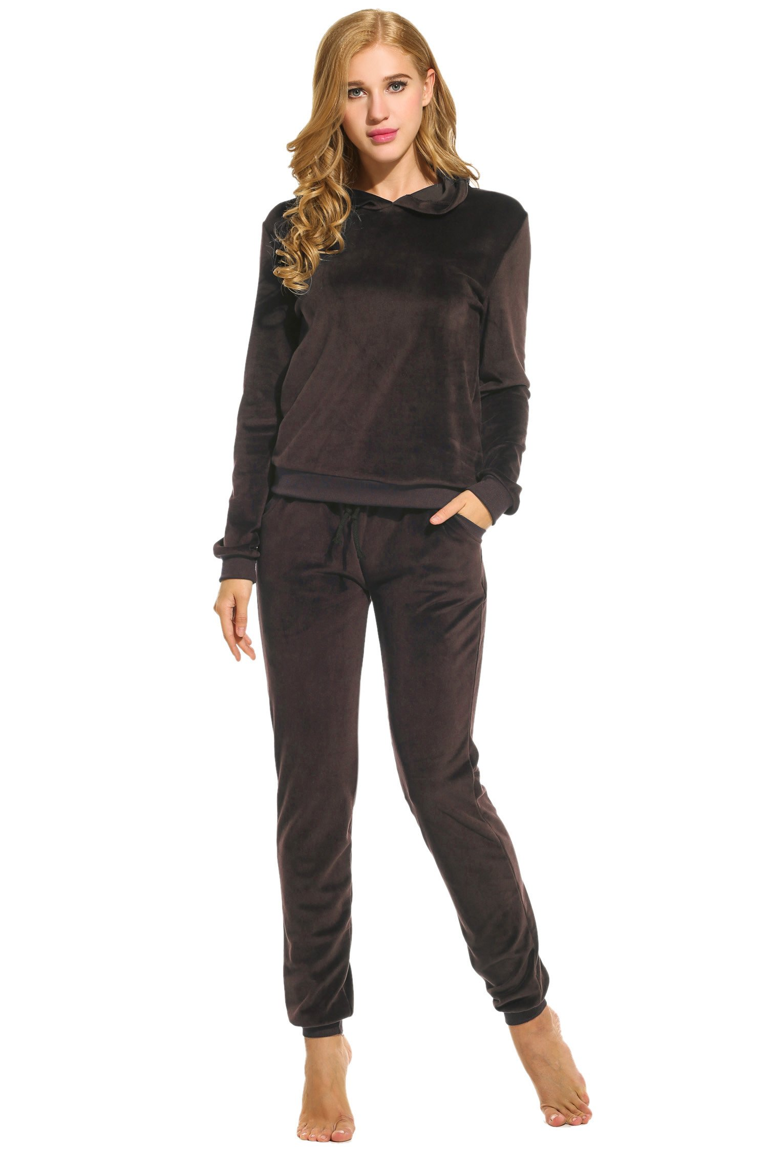 Hotouch Women's Sweatsuit Set Velour Hoodie and Track Pants Coffee L by Hotouch (Image #1)