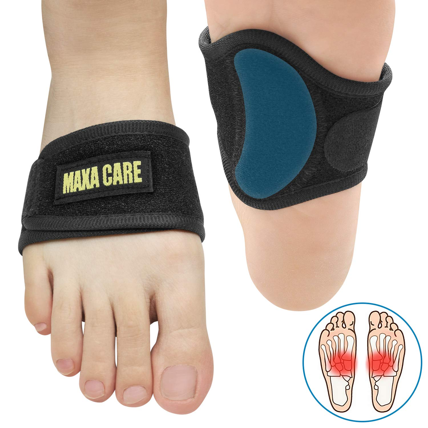 [Thinner for Shoes] MaxaCare Plantar Fasciitis Inserts Arch Support Brace for Pain Relief, High Arch Support Shoe Inserts for Plantar Fasciitis & Flat Feet & Fallen Arch, Fit Men & Women by MaxaCare