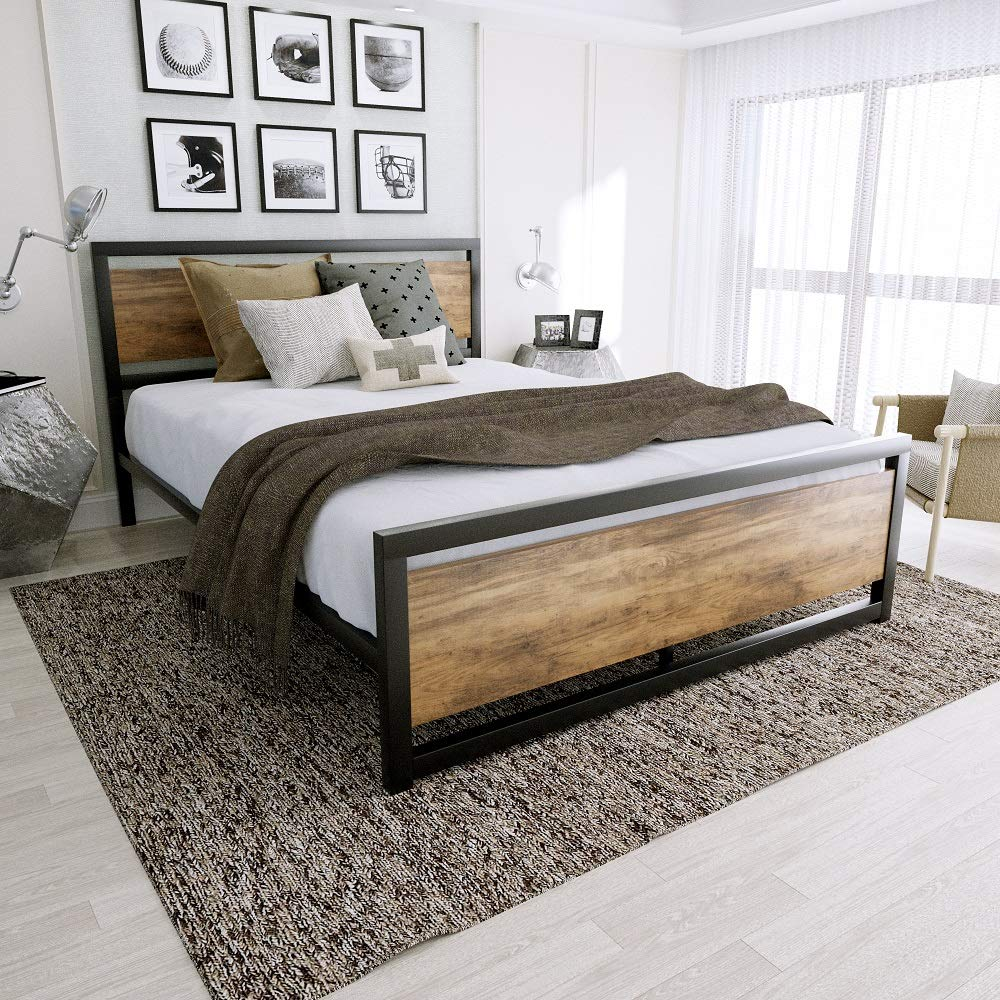 Amooly Queen Metal Bed Frame with Wood Headboard Platform Bed Frame Strong Slat Support Easy Assembly Box Spring Optional