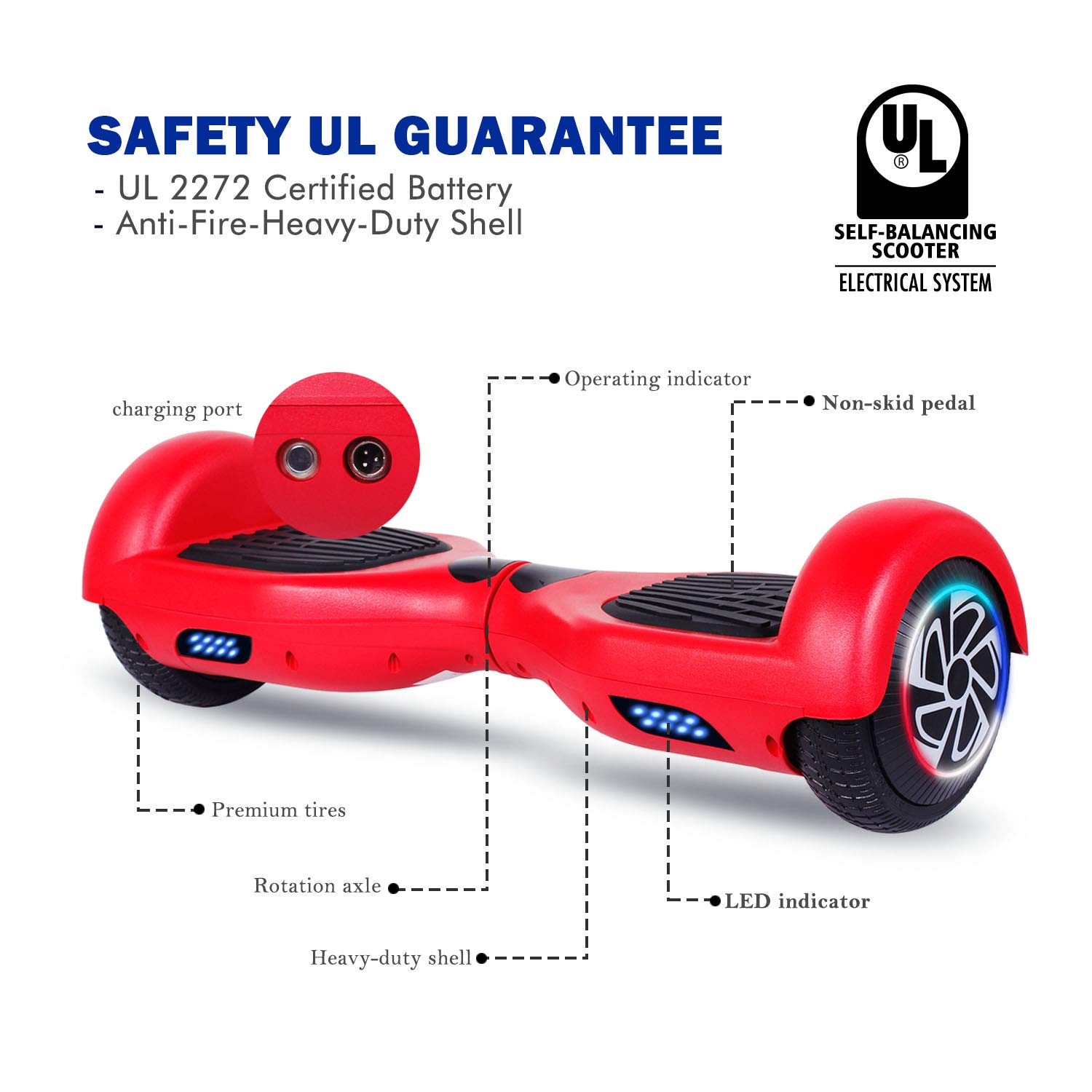 SISIGAD Hoverboard Self Balancing Scooter 6.5'' Two-Wheel Self Balancing Hoverboard with LED Lights Electric Scooter for Adult Kids Gift UL 2272 Certified - Red by SISIGAD (Image #2)
