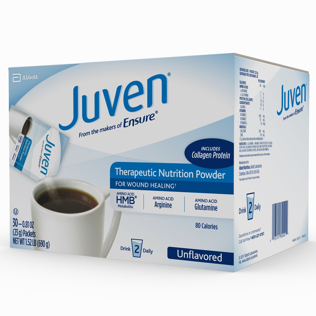 Juven Therapeutic Nutrition Drink Mix Powder for Wound Healing Includes Collagen Protein, Unflavored, 30 Count by Juven (Image #9)