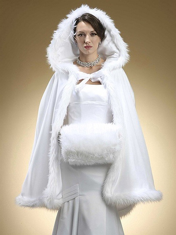 CoCogirls Kurz Brautkleider Warm Winter Pelz Jacke Mit Kapuze Cape ...