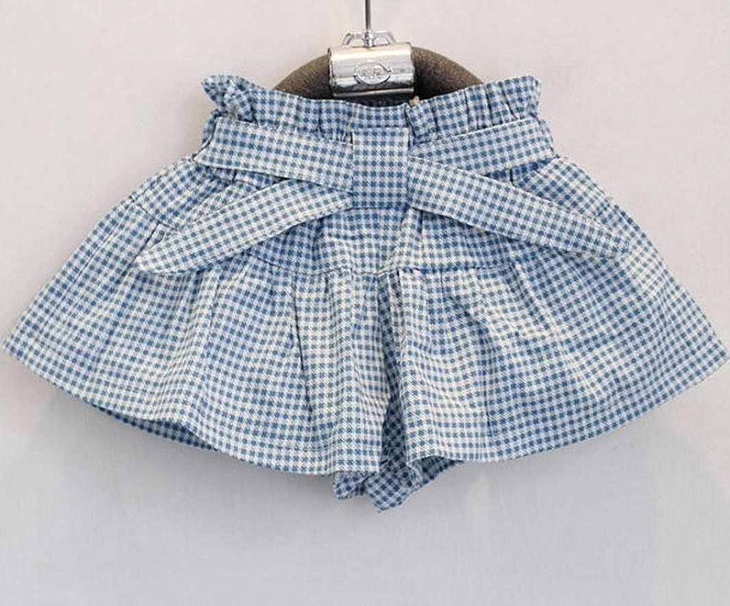 FEITONG Kids Girls Cute Bow Girl Pattern Shirt Top Grid Shorts Set Clothing