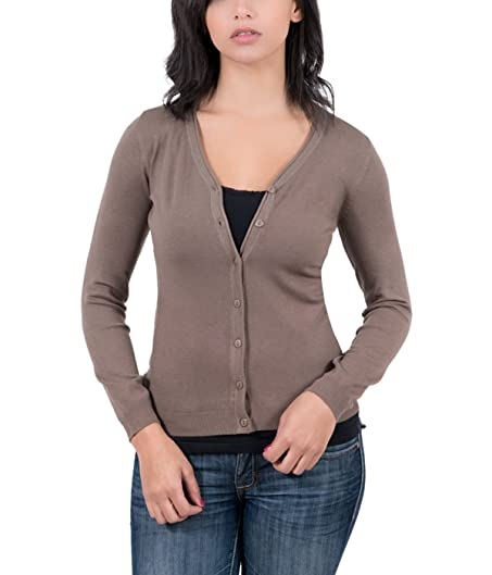 Real Cashmere Brown V-Neck Cardigan Womens Sweater at Amazon ...