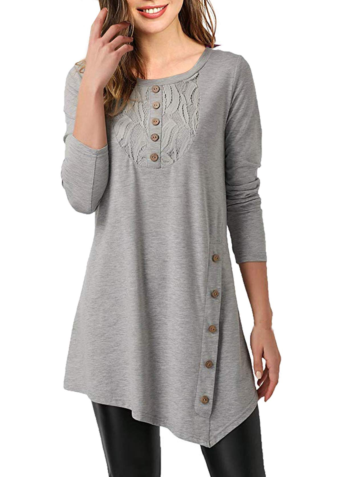 Mystry Zone Women's Casual Long Sleeve Henley Shirt Button Tunic Tops Blouse Gray X-Large