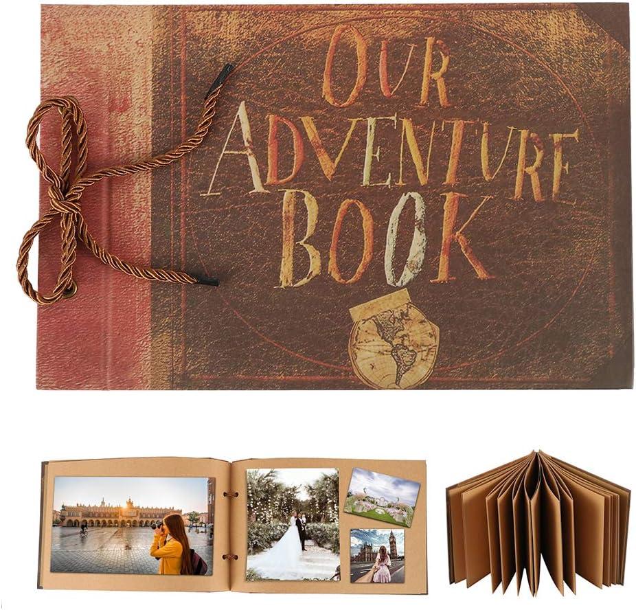 Dandelionsky Our Adventure Book Scrapbook Album Pixar Up Handmade DIY Family Scrapbook Retro Wedding Guest Book Photo Scrapbook for Anniversary Wedding Birthday Thanksgiving Vacation Memories