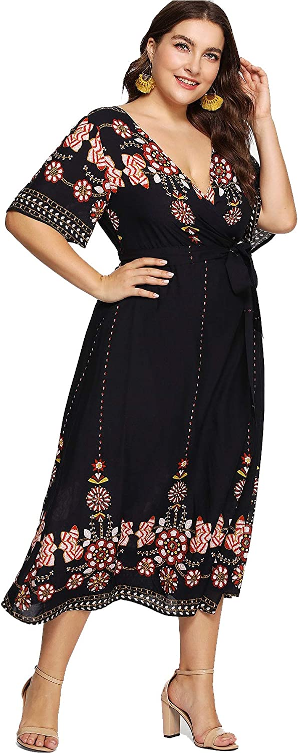 Milumia Women Plus Size Tribal Wrap V Neck Short Sleeves Empire Waist Maxi Dress Black 1XL