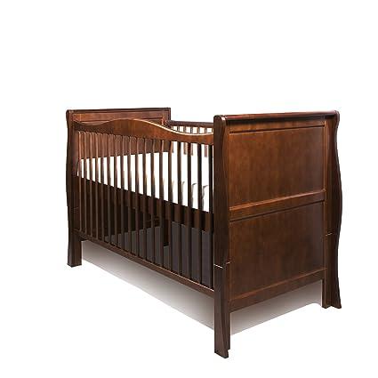 Nueva madera de pino color nogal trineo cuna cama/cama ...