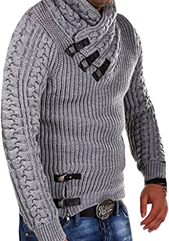 Runcati Mens Cable Knit Ribbed Sweaters Turtleneck Pullover Long Sleeve Button Up Fall Slim Fit Warm Winter Jumper