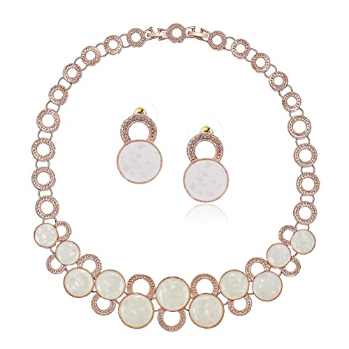 Queen Mary Set; Real Mother of Pearl Jewellery on 14K Rose Gold or Silver Rhodium