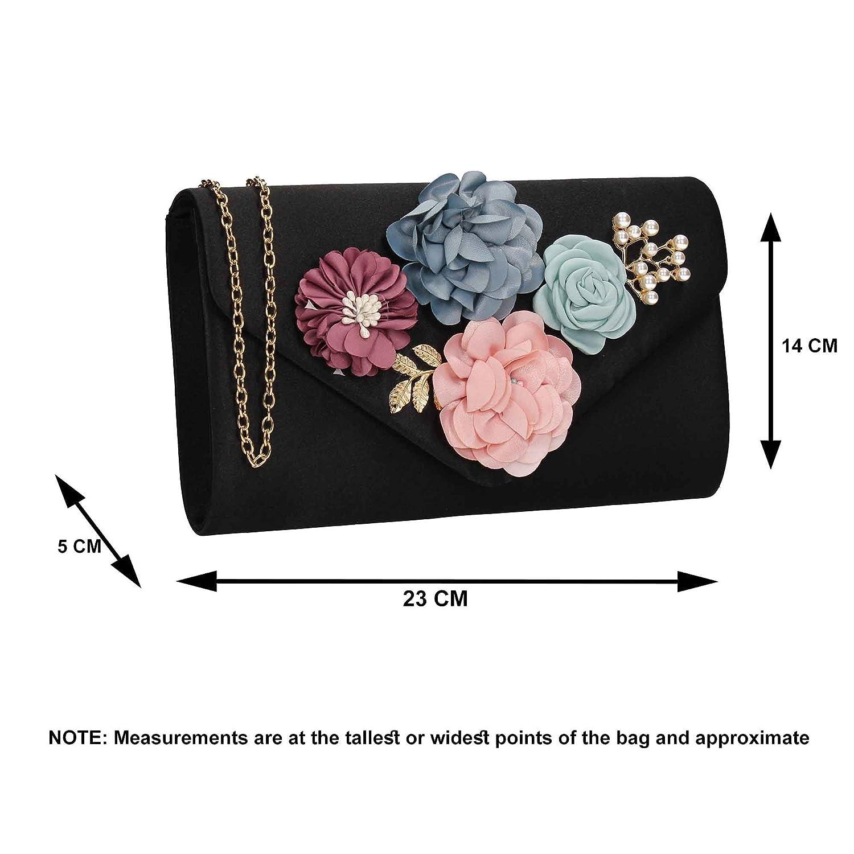 Markle Floral Satin Envelope Clutch Bag - Black: Amazon.co.uk: Shoes & Bags