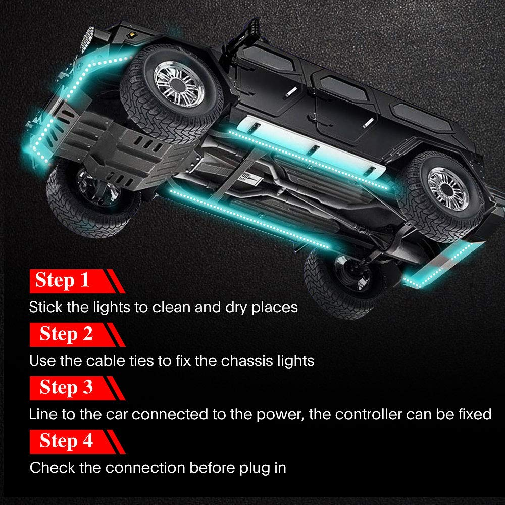 Bluetooth Dream Color LED Strip Lights Kit 4x 20 inch + 2 x 60 inch 6 PCS Waterproof Exterior Car Lights with Ultra Long 2-in-1 Design APP Control Under LED Lights for Cars Car Underglow Lights