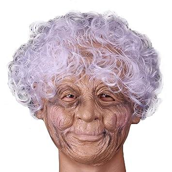 Aieoe Latex Kopfmaske Alte Frau Oma Maske Fur Halloween Fasching