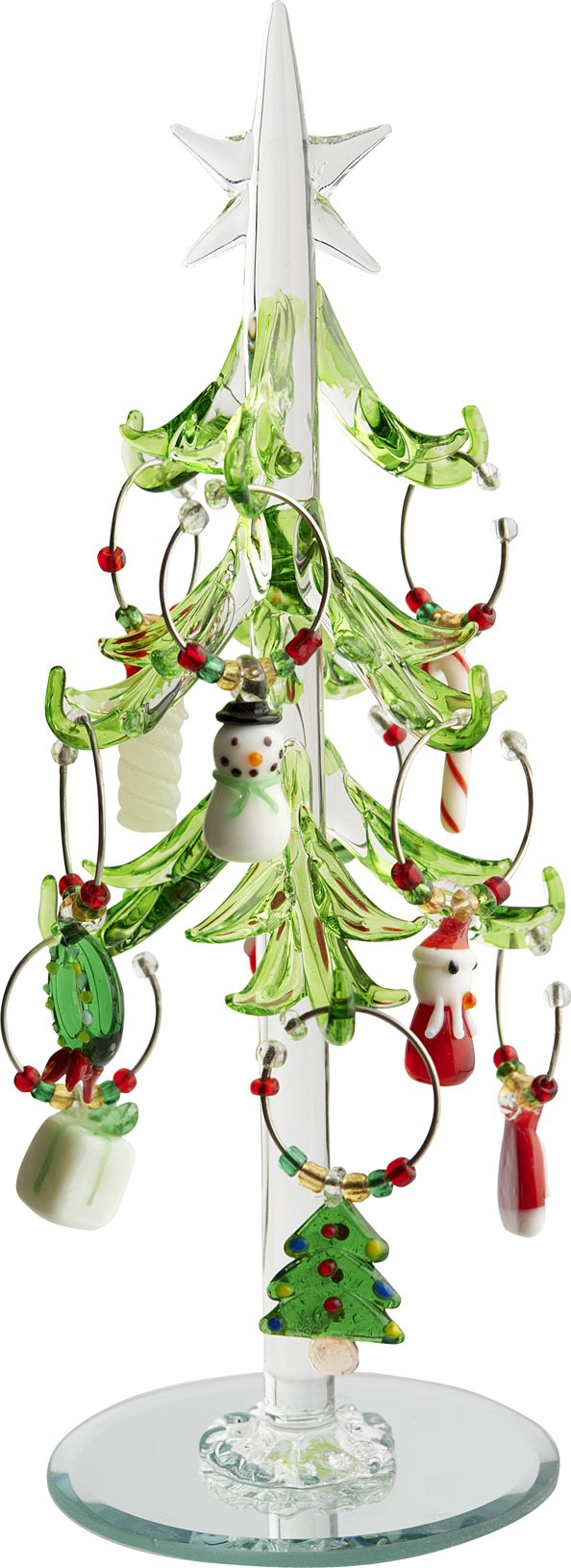 LSArts Green Leaf Christmas Tree Wine Charms with Wine Markers, 7.5-Inch by LSArts