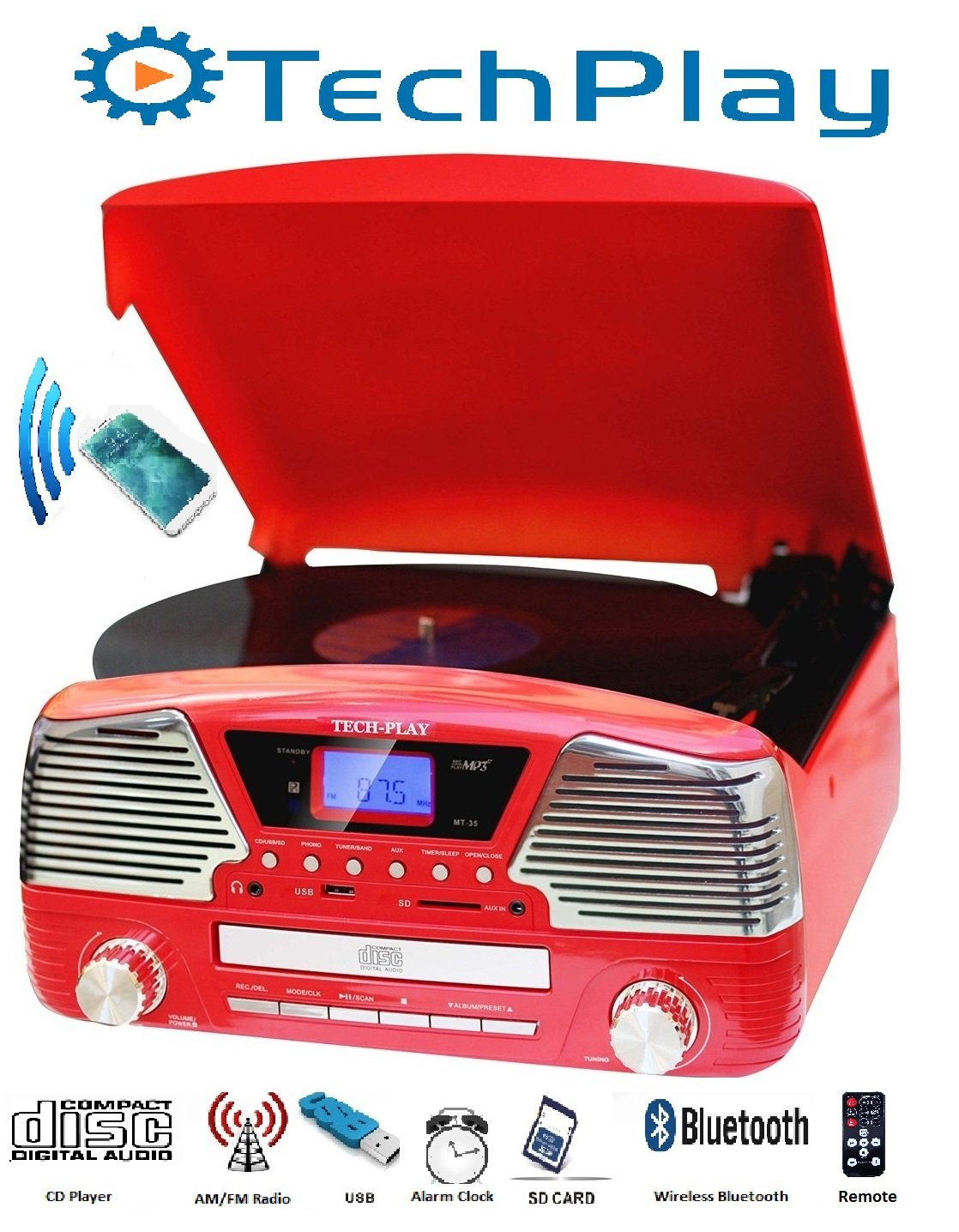 TechPlay ODC35BT RED with Bluetooth, 3 Speed Turntable Programmable MP3 CD Player, USB/SD, Radio & Remote Control by TechPlay