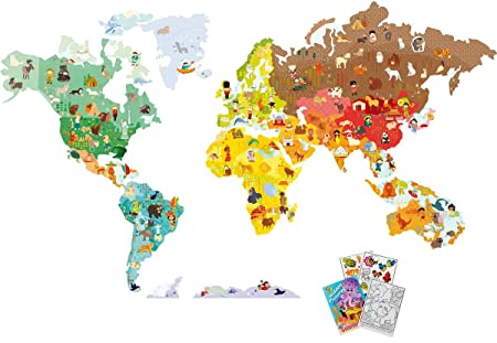 Janod 02850 world map magnetistick giant magnetic wall decals magnets with coloring book