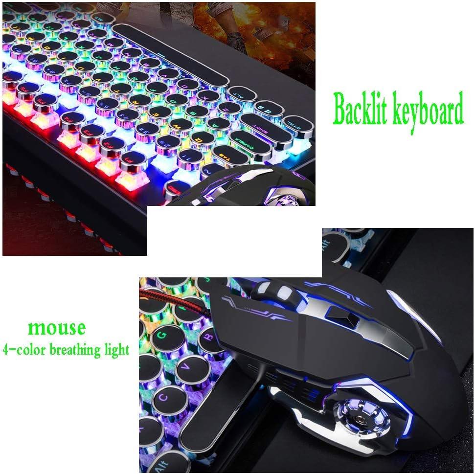 Color : F Mechanical Keyboard and Mouse Set Jiu Si Notebook Desktop Computer Esports Game Backlight Keyboard USB Interface 104 Key Keyboard