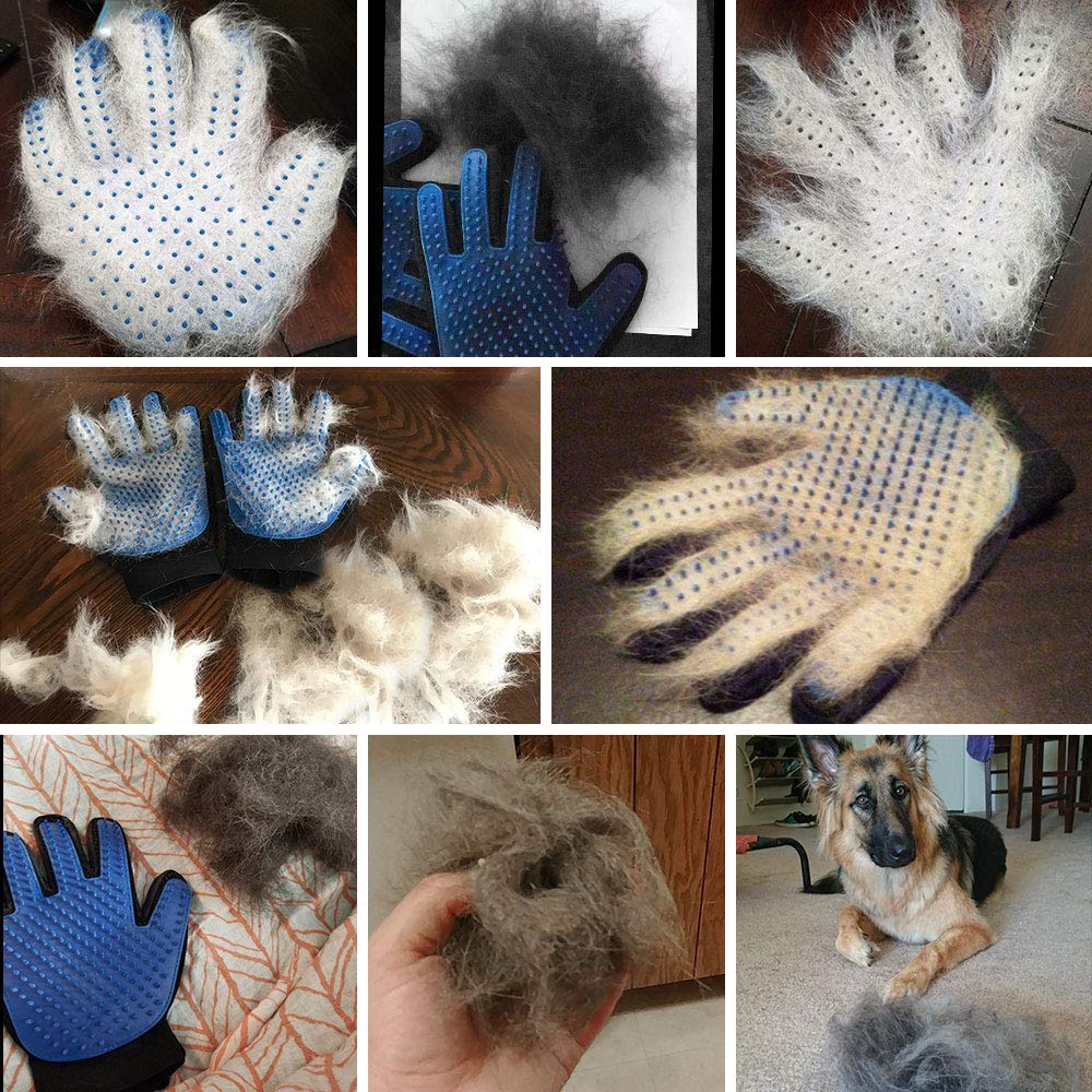 WLEJDDD Silicone Pet Dog Brush Glove Deshedding Gentle Efficient Pet Grooming Glove Dog Bath Cat Cleaning Supplies Pet Glove Hair Remove Pink Left and Right Hand