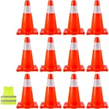 BestEquip 12 Traffic Cones 18' Safety Cones PVC Orange Traffic Safety Cone with Reflective Collar and Vest for Road…