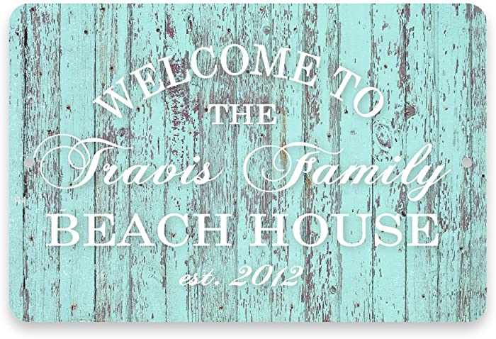 Pattern Pop Personalized Mint Rustic Welcome to The Family Beach House Metal Room Sign