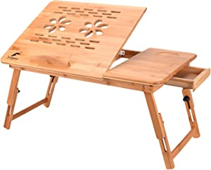Bamboo Laptop Desk with Adjustable Tilting Drawers Portable Multi-use Wood Laptop Table Tray Breakfast Serving Bed Tray