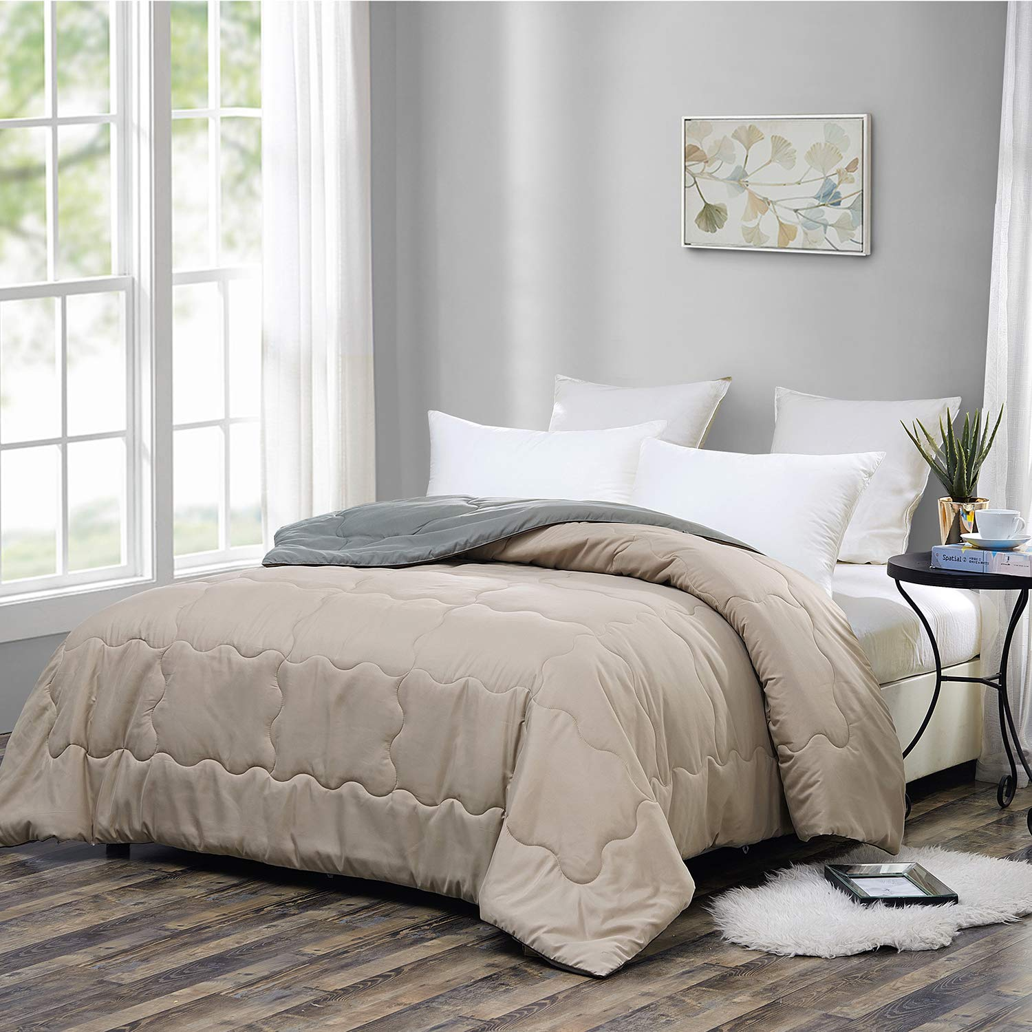 Down Alternative White Comforter-Queen Size Reversible Hypoallergenic Duvet Insert or Stand-Alone Quilted Bed Comforter with Plush Microfiber Filling,Corner Tabs,Machine Washable- OMYSTYLE 88x88inches,White