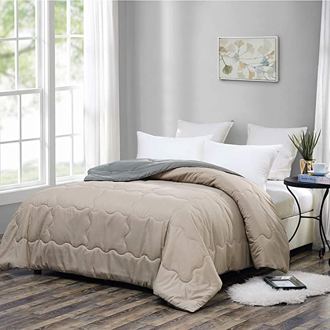 OMYSTYLE Down Alternative Bed Comforters-Twin Size Reversible Duvet Insert or Stand-Alone Quilted Comforter with Plush Microfiber Filling,Corner Tabs,Machine Washable-(64x88inches,Grey/Steel)