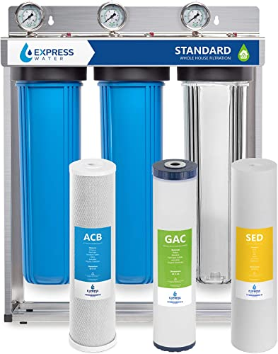 Express Water Whole House Water Filter 3 Stage Home Water Filtration System Sediment, Coconut Shell Carbon Filters includes Pressure Gauges, Easy Release, and 1 Inch Connections