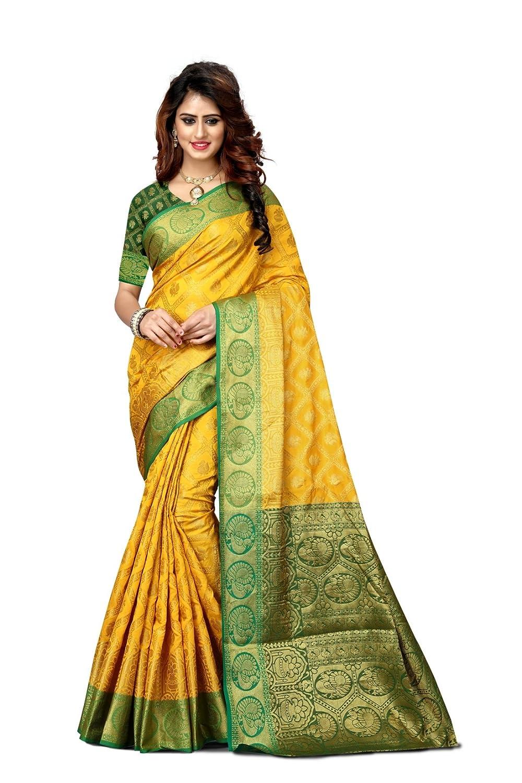 F4style Women's Designer Banarasi Silk Saree with Unstitched Blouse Piece