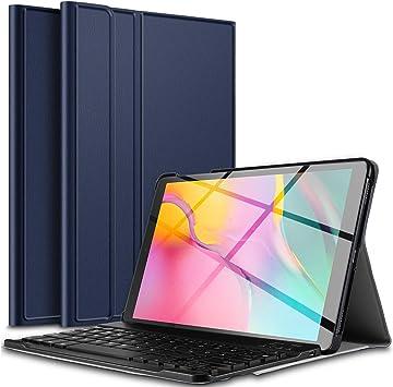 IVSO Teclado Estuche para Samsung Galaxy Tab A T510/T515 10.1 2019 (QWERTY English), Slim Stand Funda con Removible Wireless Teclado para Samsung ...