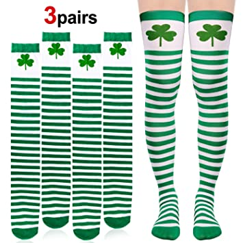 77f6174a Howaf 3Pair St. Patricks Day Socks Irish Shamrock Long Striped Over ...
