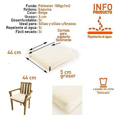 Edenjardi Cojín para sillas de jardín Color Beige, Tamaño 44x44x5 cm, Repelente al Agua, Desenfundable
