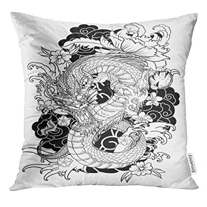 Amazon.com: Emvency Throw Pillow Cover Red Japan Dragon ...