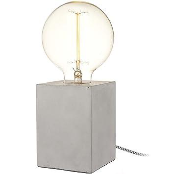 Neoly 36 2l 010 Lampe Cube Beton Gris Ampoule A Filament Incluse Fil