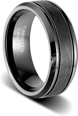 8mm Double Step Ridged Edge Satin and Polished Finish Grooved Designer Titanium Contemporary Wedding Band