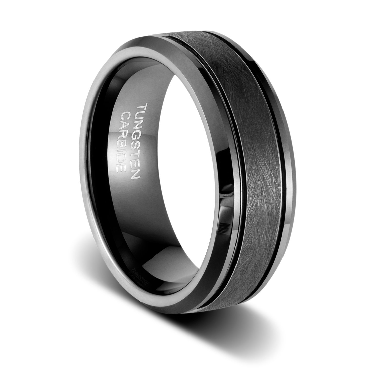 TUSEN JEWELRY 8mm Handle Brushed Two Grooved Black Polished Beveled Edges Tungsten Wedding Band Ring Size:10