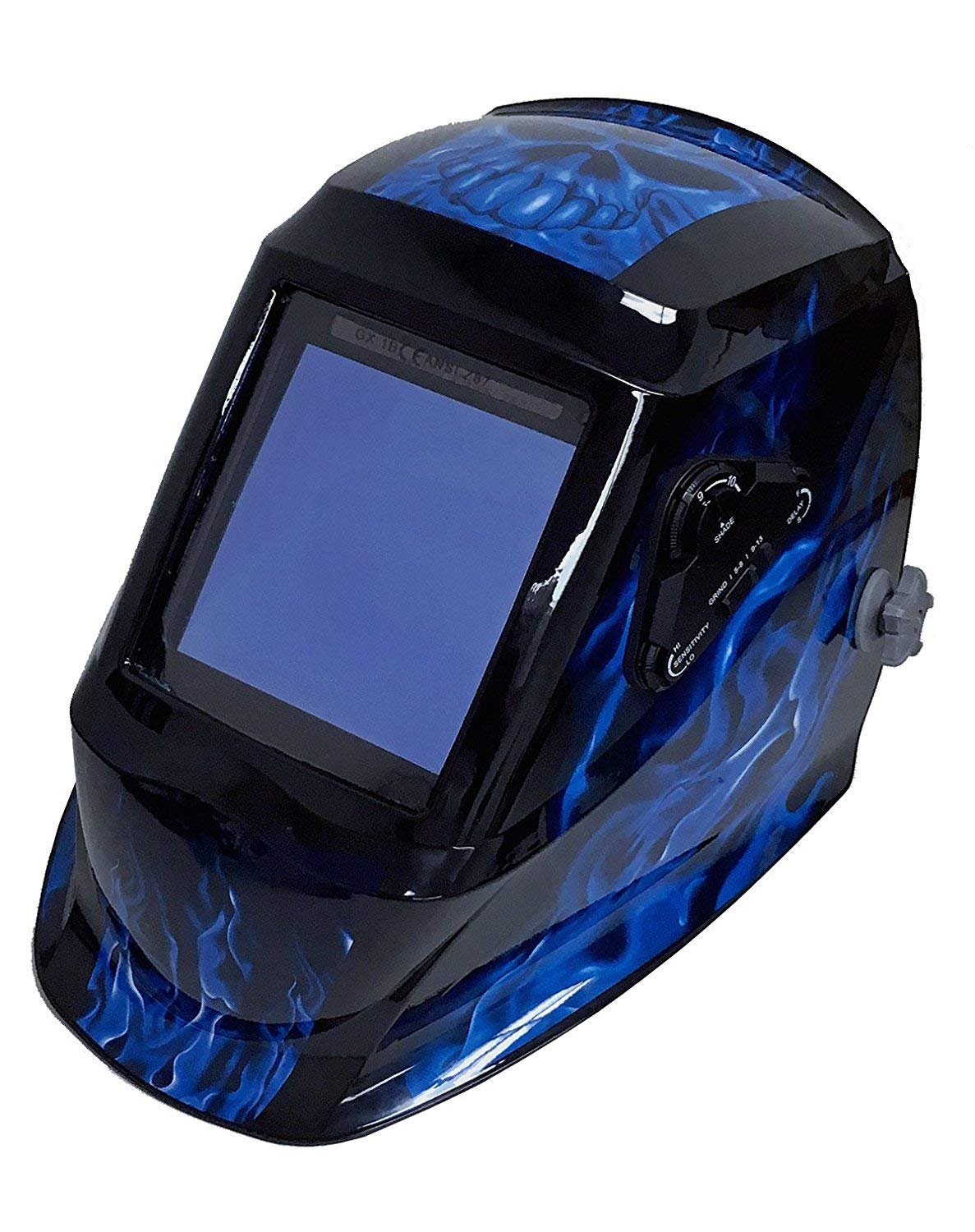 Instapark ADF Series GX990T Solar Powered Auto Darkening Welding Helmet with 4 Optical Sensors, 3.94'' X 3.86'' Viewing Area and Adjustable Shade Range #5 - #13 Bluish Devil by Instapark