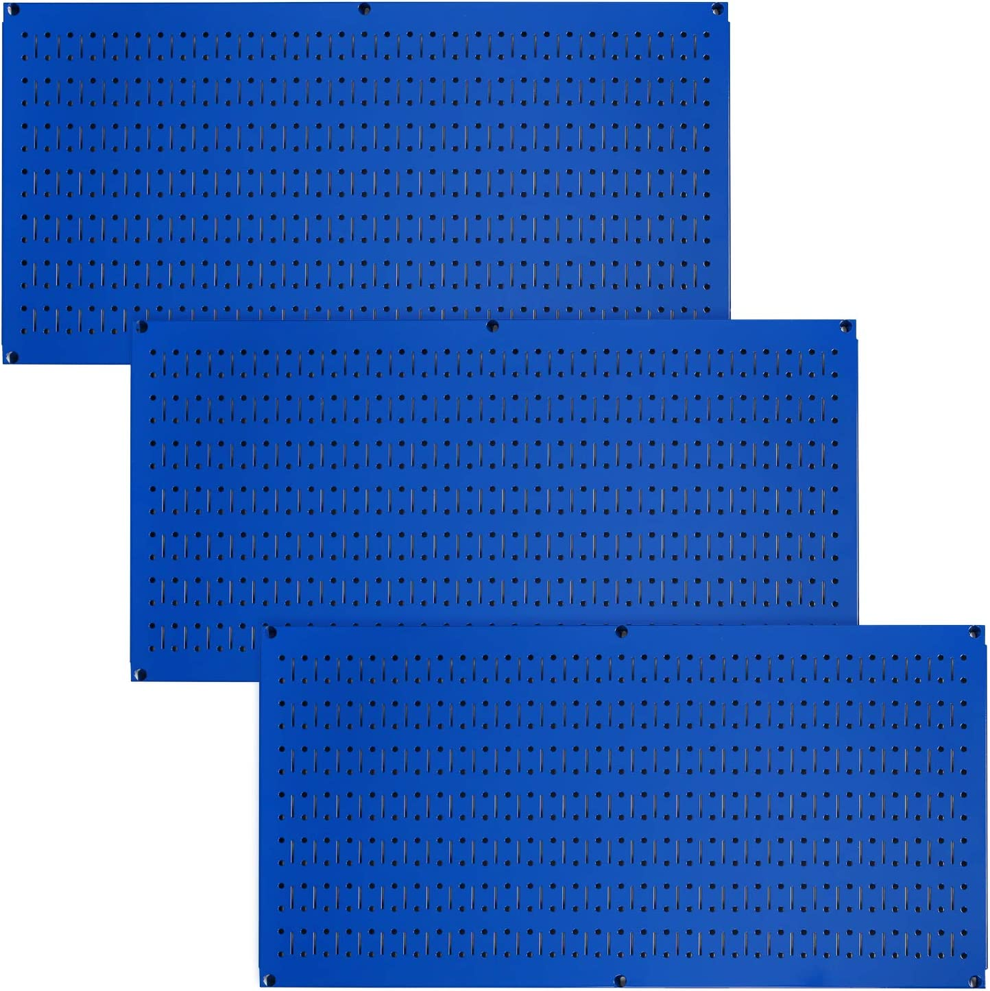 Wall Control Pegboard Value Pack - (3) Pack of Wall Control 16-Inch Tall x 32-Inch Wide Horizontal Blue Metal Pegboards for Wall Home & Garage Tool Storage Organization (Blue Pegboard)