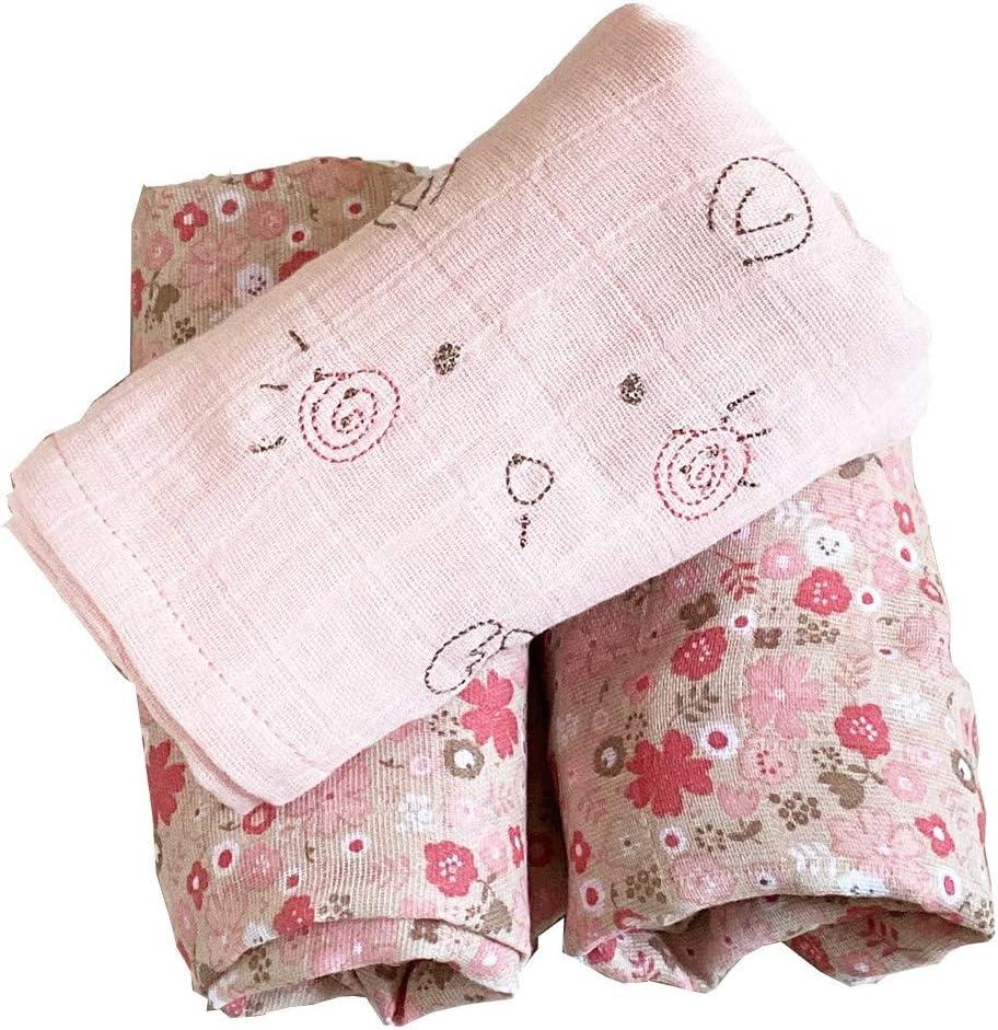 Lot de 3 Langes Coton Bio MILA Rose Little Crevette