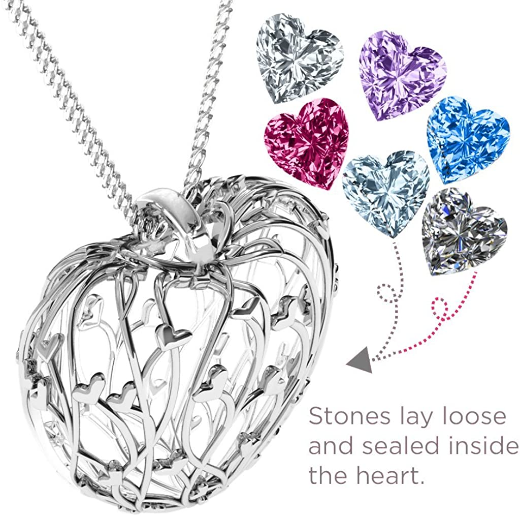 14K Gold Organic Heart Cage Pendant With Personalized Heart-Shaped Birthstones by JEWLR