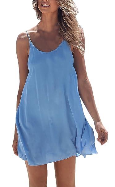 Vestidos Verano Mujer Vestidos Playa Cortos Elegantes Sin Mangas Espalda Descubierta Suelto Moda Casual Color Solido Vestido Corto Dresses Señoras: ...