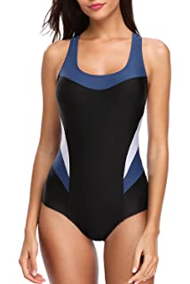 7a005f658f94 beautyin Women s Pro One Piece Athletic Bathing Suit Color Block Swimsuit