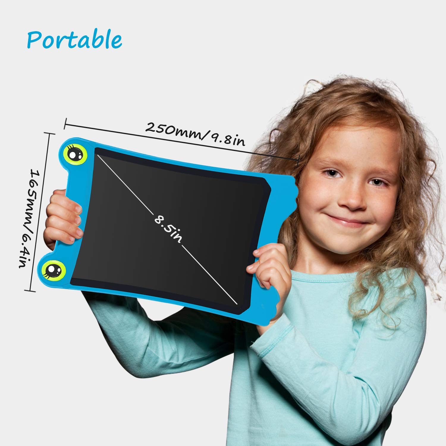NEWYES 8.5 Inch LCD Writing Tablet Updated Frog Pad Children Electronic Doodle Board Jot Digital E-Writer Kids Scribble Toy with Lock Function Blue by NEWYES (Image #2)