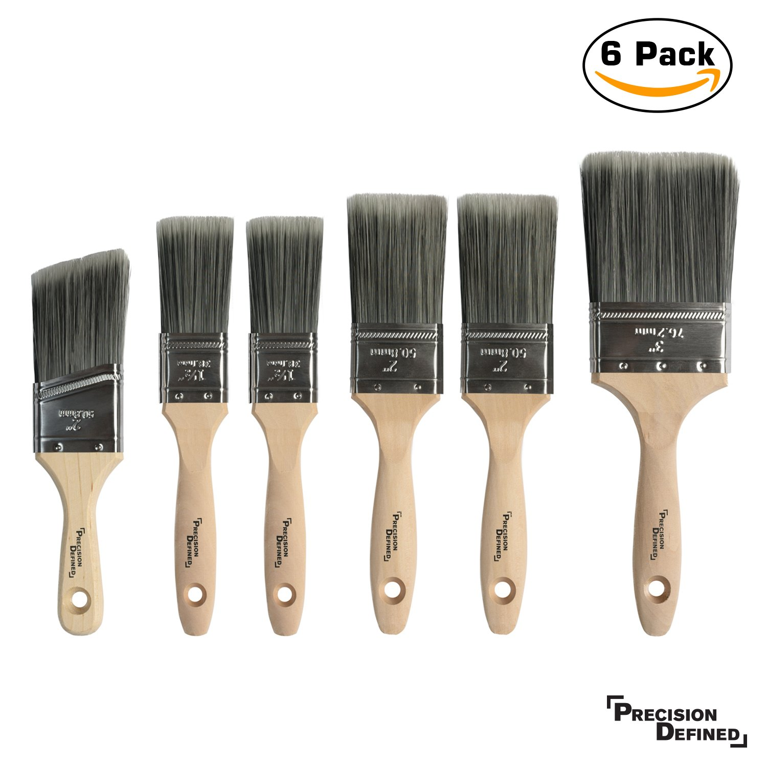Heavy-Duty Professional 6 Piece Paintbrush Set, with SRT PET Bristles and Natural Birch Handles, Precision Defined by Precision Defined