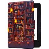 Huasiru Peinture Étui Housse Case pour Amazon Kindle Paperwhite (2012, 2013, 2015, 2016 et 2017 versions 300 ppi) Cover, Bibliothèque
