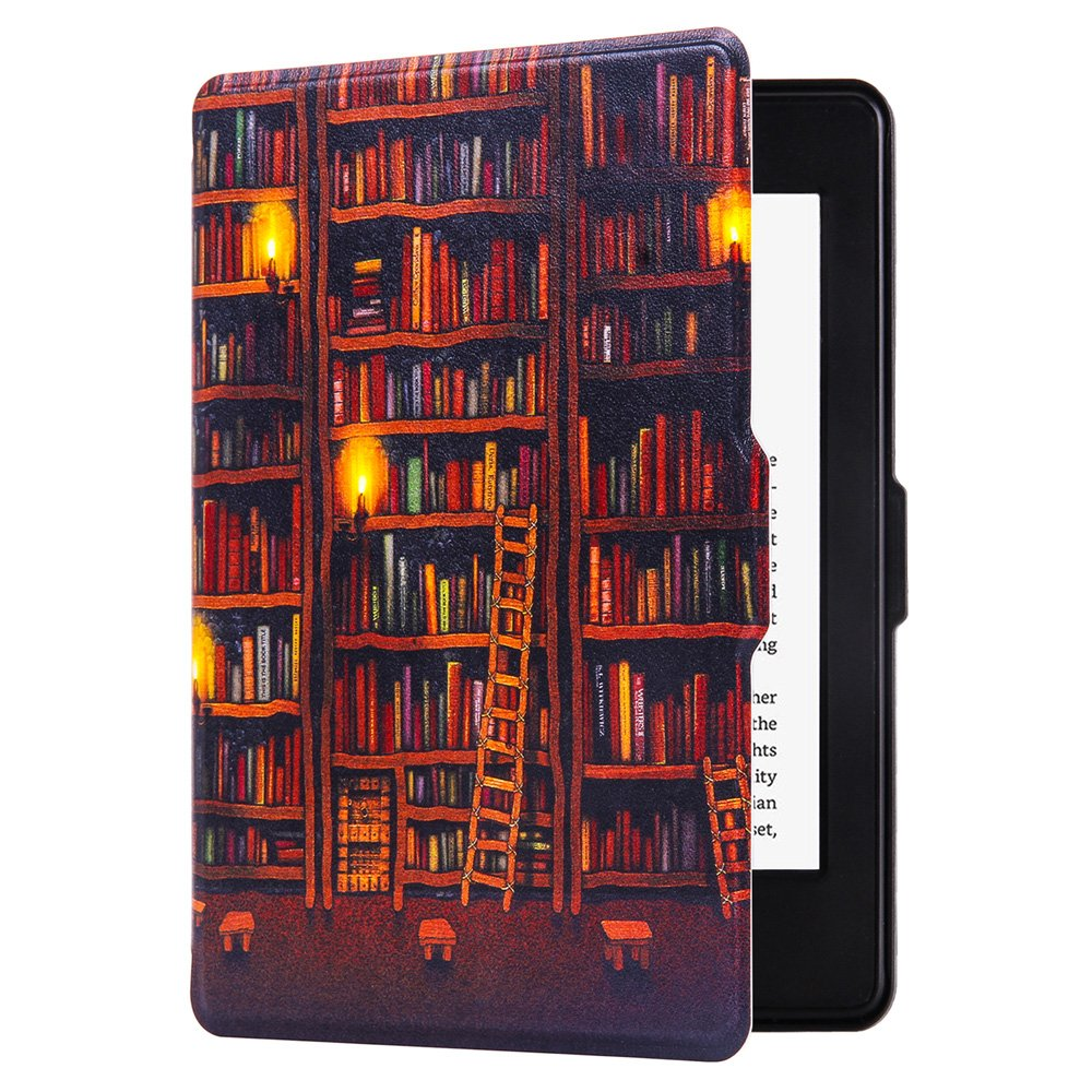 Huasiru Painting Case for Amazon Kindle Paperwhite (2012, 2013, 2015, 2016, 2017 and 2018 Versions) Cover with Auto Sleep/Wake, Library