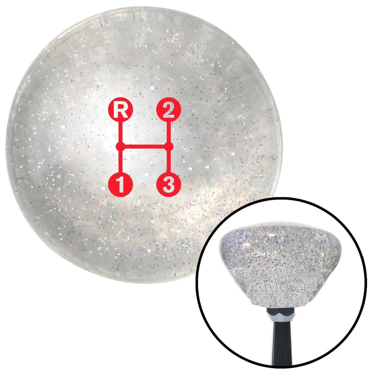 Red 3 Speed Shift Pattern - Dots 11n Clear Retro Metal Flake with M16 x 1.5 Insert American Shifter 286369 Shift Knob